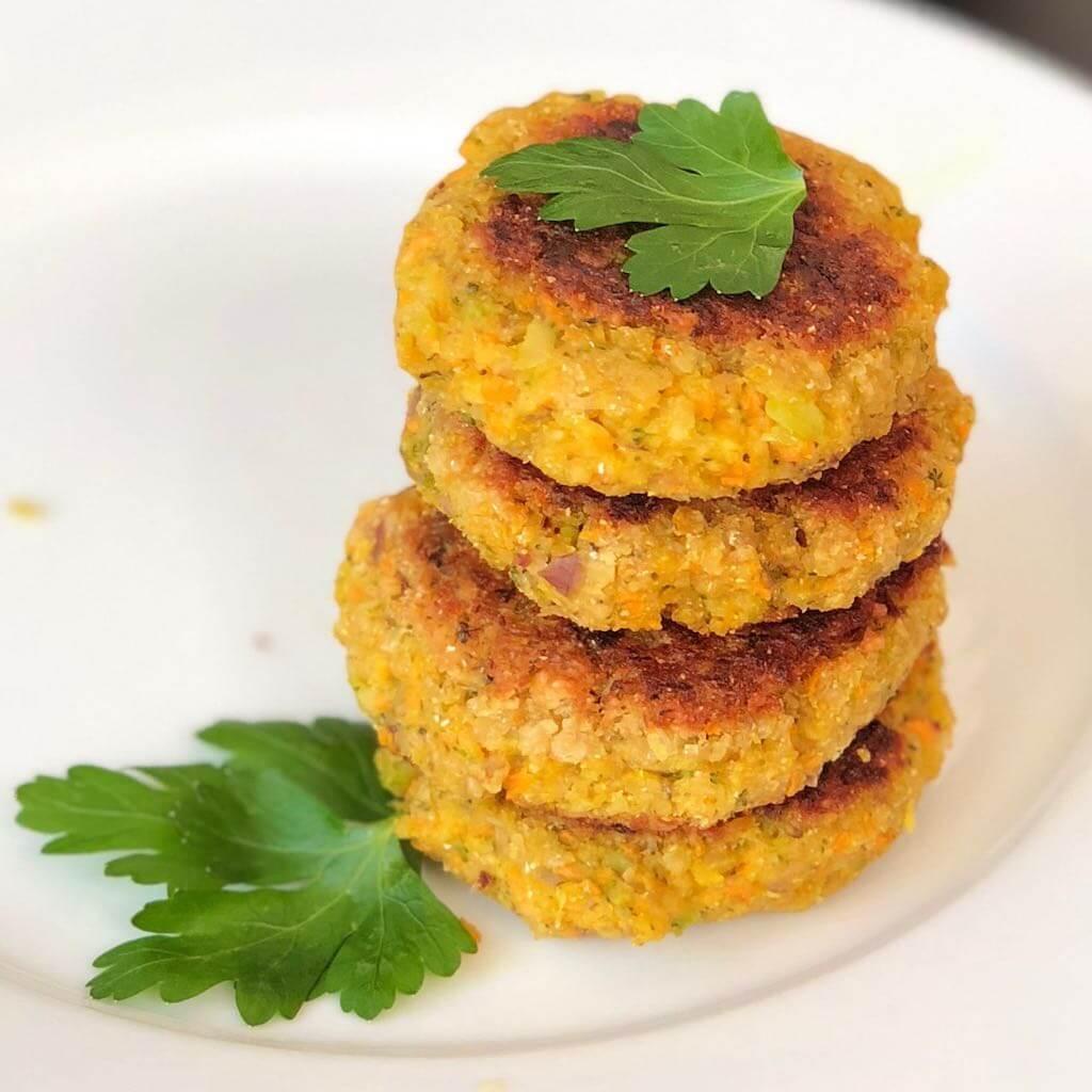 Hafer-Gemüse-Burger quadratisch
