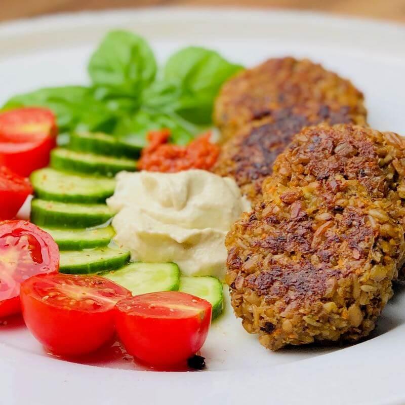 Grünkern-Burger quadratisch