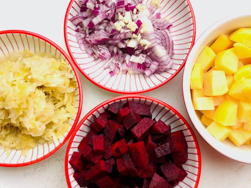 Borschtsch Zutaten - Vorsätze
